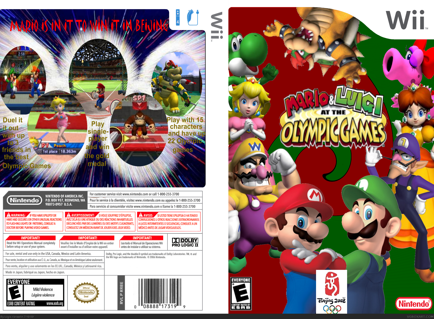 Mario And Luigi At The Olympic Games Wii Box Art Cover By