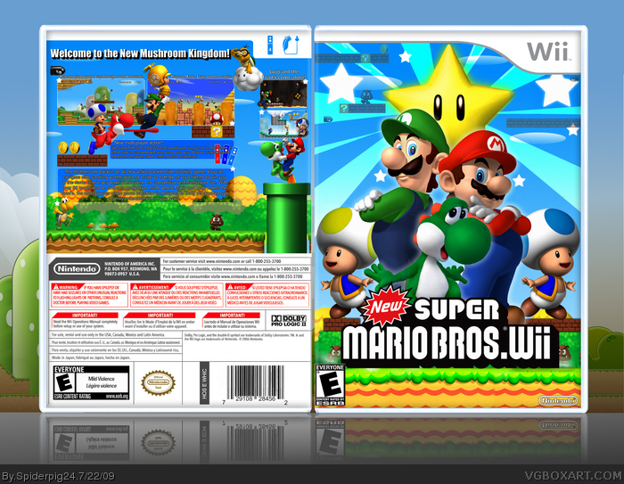 New Super Mario Bros  Wii Wii Box Art Cover by Spiderpig24