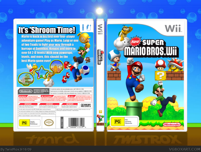 New Super Mario Bros  Wii Wii Box Art Cover by TwistRox