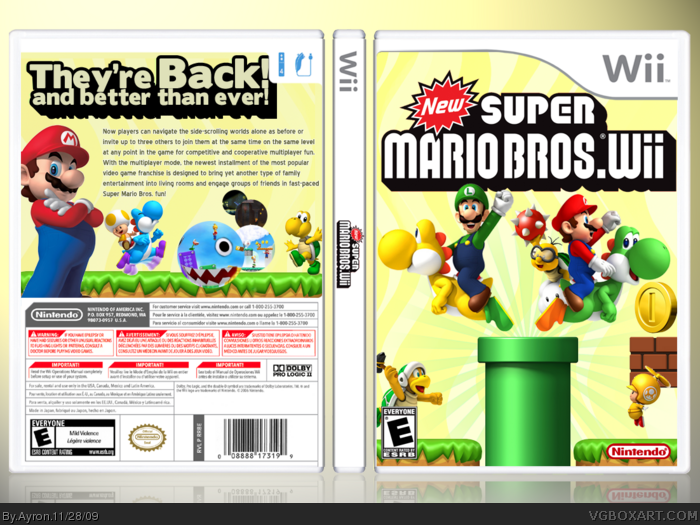 New Super Mario Bros  Wii Wii Box Art Cover by Ayron