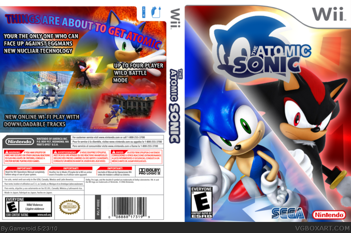 The Atomic Sonic Wii Box Art Cover By Gameroid