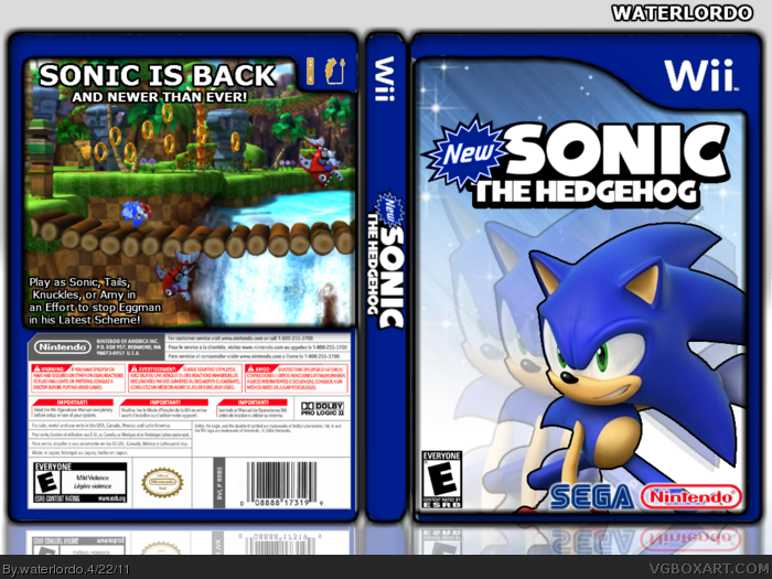 New Sonic The Hedgehog Wii Box Art Cover by waterlordo
