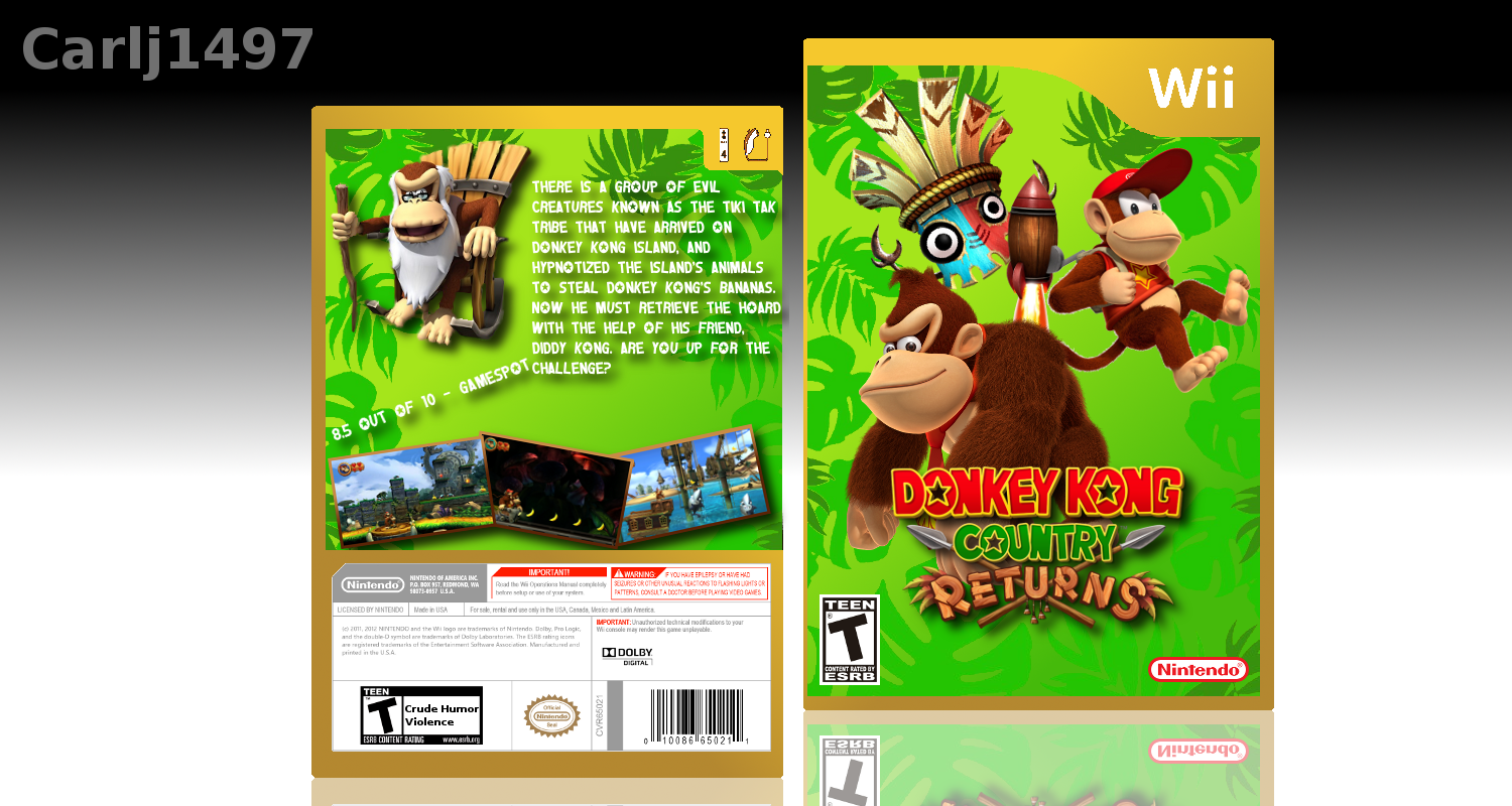 Donkey Kong Country Returns Wii Box Art Cover By Carlj1497