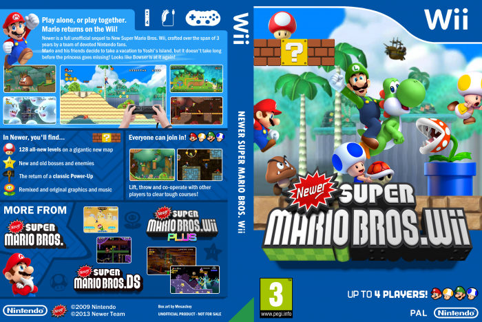 Newer Super Mario Bros Wii Wii Box Art Cover By Chronova