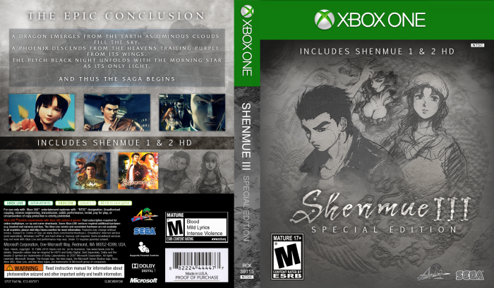 Shenmue Iii Special Edition Xbox One Box Art Cover By Riken