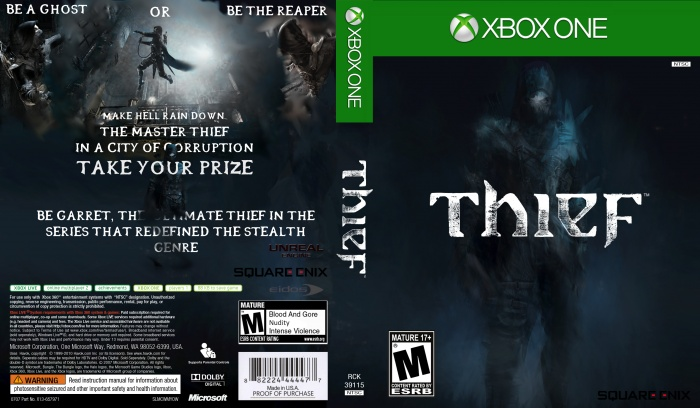 image regarding Printable Game Covers known as Thief Xbox Just one Box Artwork Go over by means of THEIF