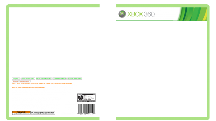 Xbox 360 template for Video game cover template